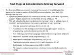 next steps considerations moving forward