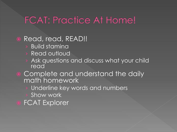 FCAT: Practice At Home!