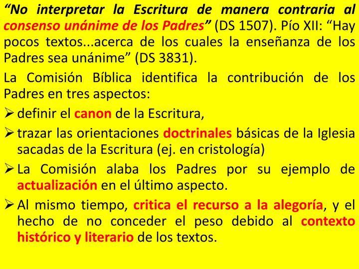 """No interpretar la Escritura de manera contraria al"