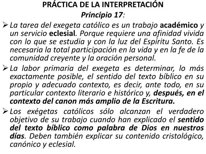 PRÁCTICA DE LA INTERPRETACIÓN