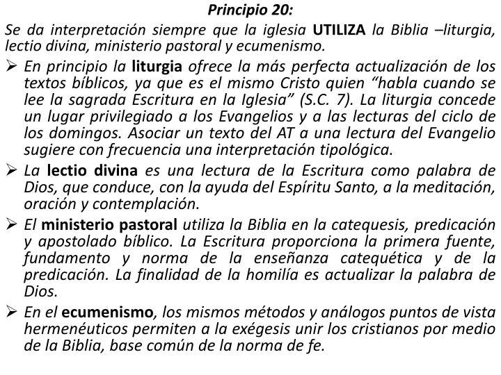 Principio 20: