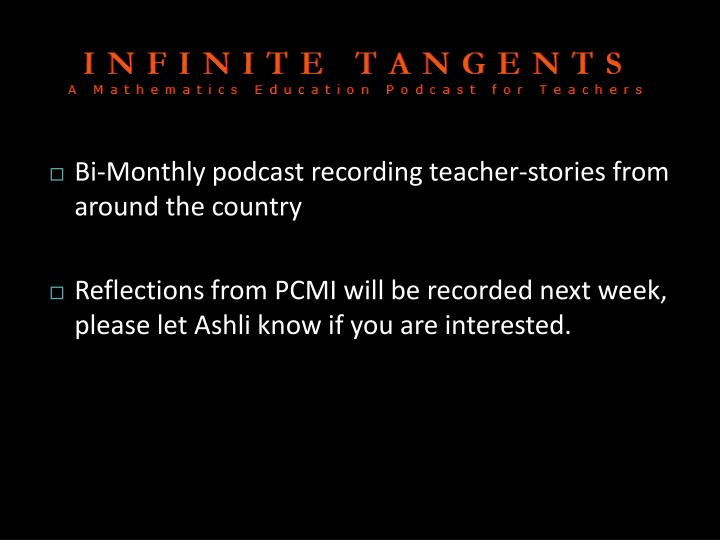 Bi-Monthly podcast recording teacher-stories from around the country