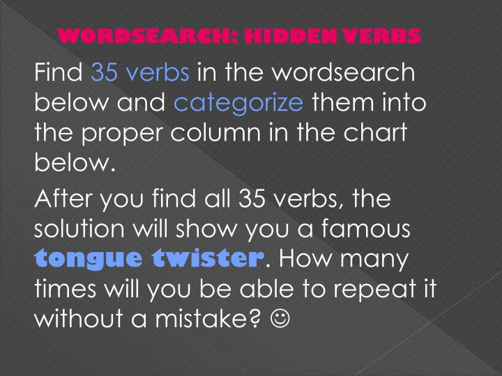 WORDSEARCH: HIDDEN