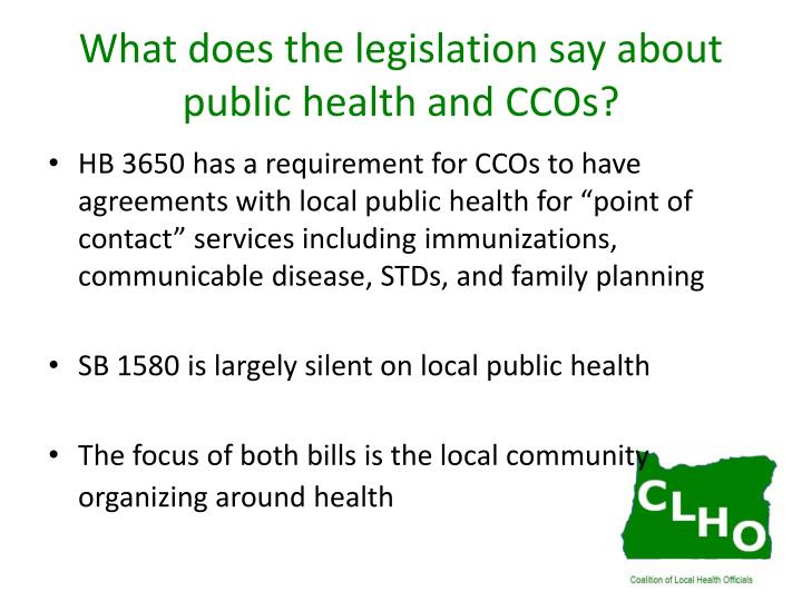 What does the legislation say about public health and