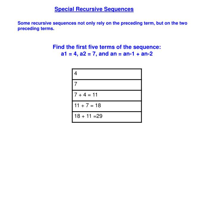 Special Recursive Sequences