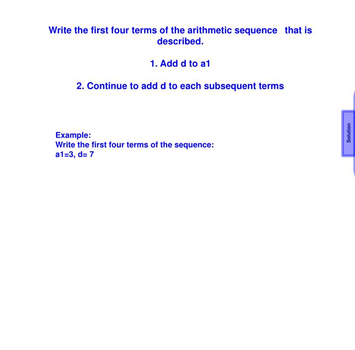 Write the first four terms of the arithmetic sequence 