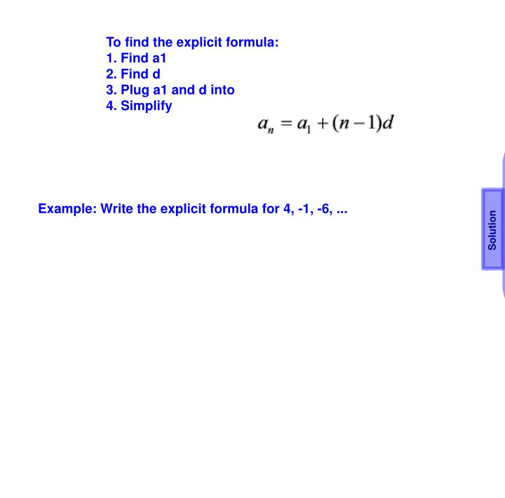 To find the explicit formula: