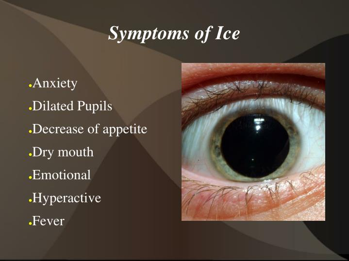 Symptoms of Ice