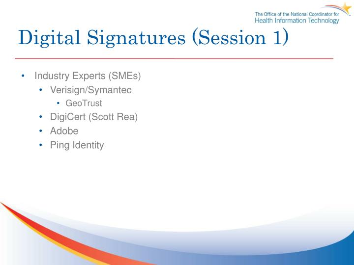 Digital Signatures (Session 1)