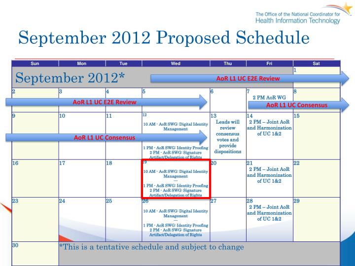 September 2012 Proposed Schedule