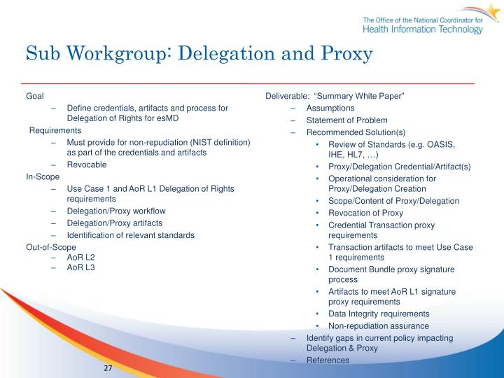 Sub Workgroup: Delegation and Proxy
