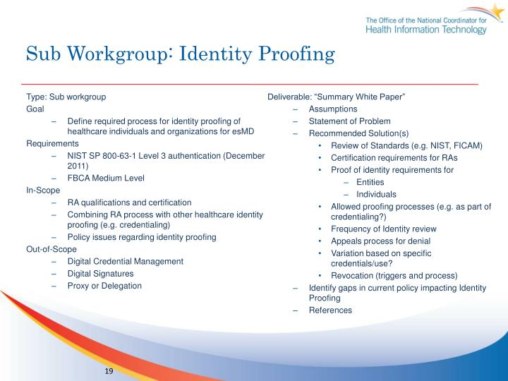 Sub Workgroup: Identity Proofing