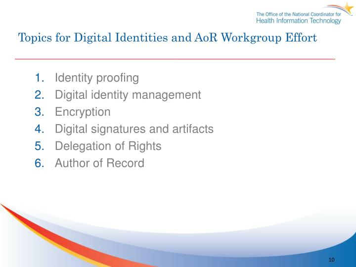 Topics for Digital Identities and AoR Workgroup