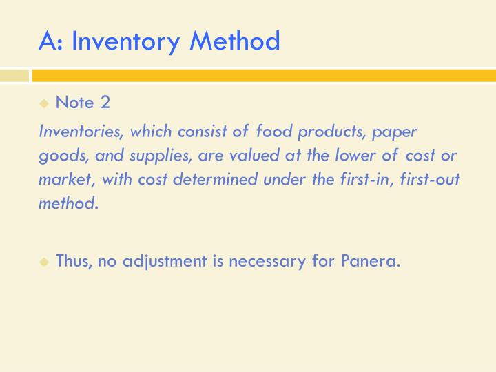 A inventory method