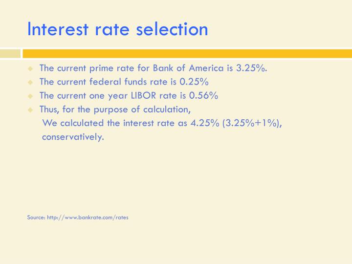Interest rate selection