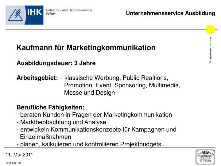 Kaufmann für Marketingkommunikation