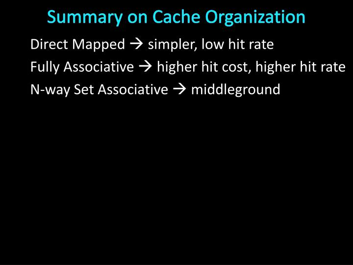 Summary on Cache Organization