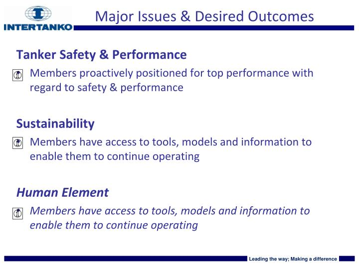 Major Issues & Desired Outcomes