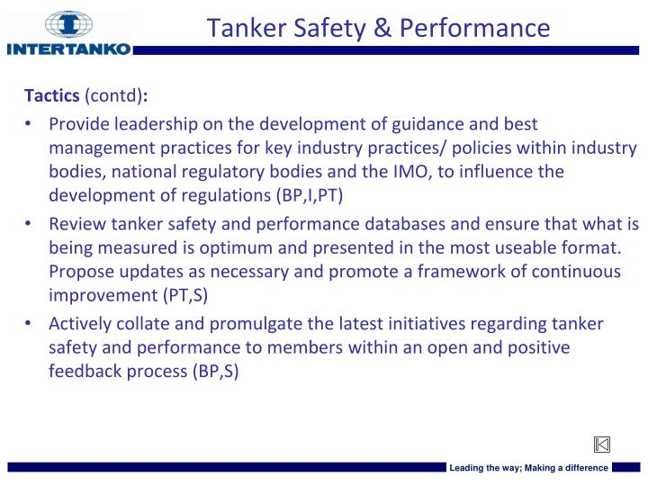 Tanker Safety & Performance