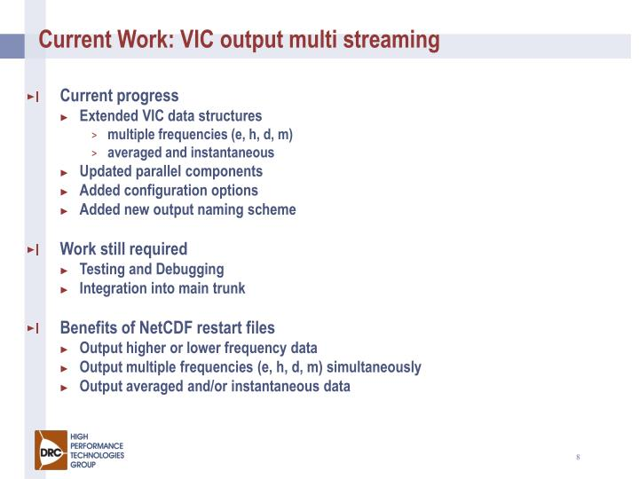 Current Work: VIC output multi streaming