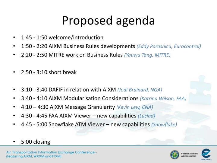 Proposed agenda