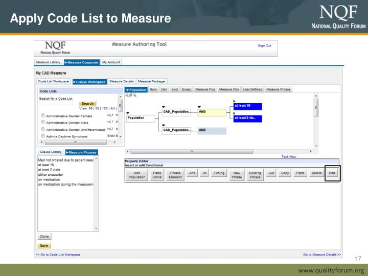 Apply Code List to Measure
