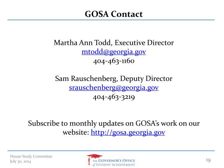 GOSA Contact