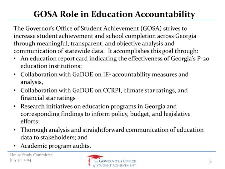 GOSA Role in Education Accountability