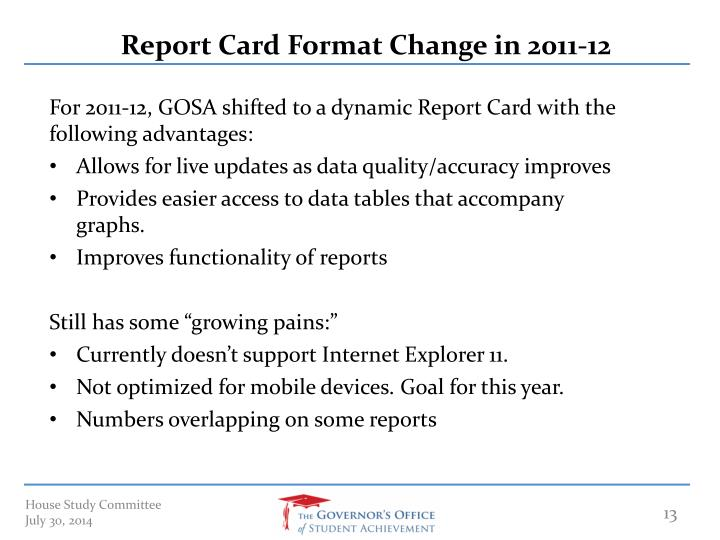 Report Card Format Change in 2011-12