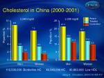 cholesterol in china 2000 2001
