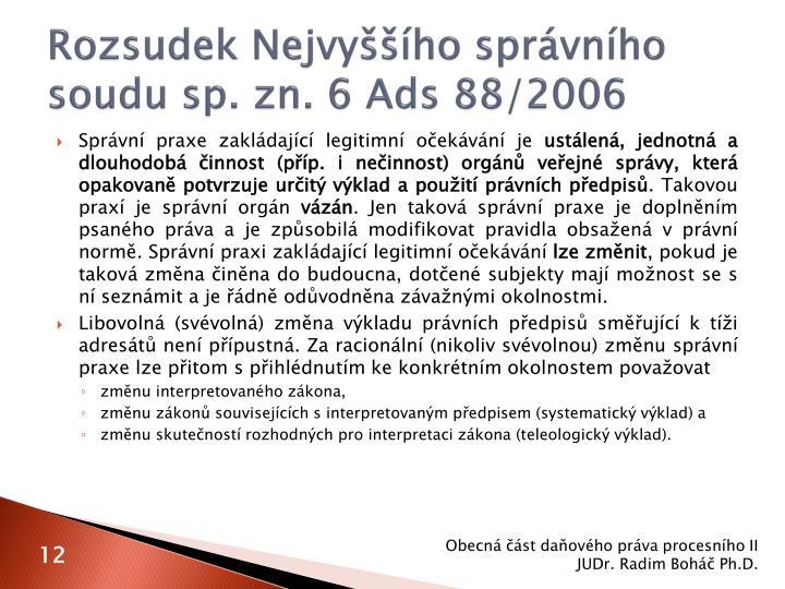 Rozsudek Nejvyššího správního soudu sp. zn. 6