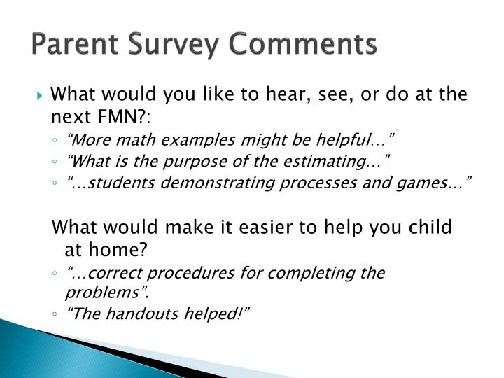 Parent Survey Comments