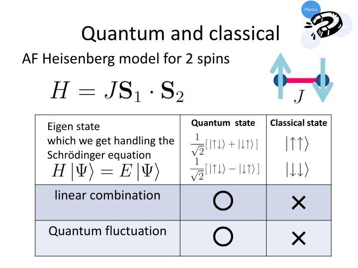 Quantum and classical