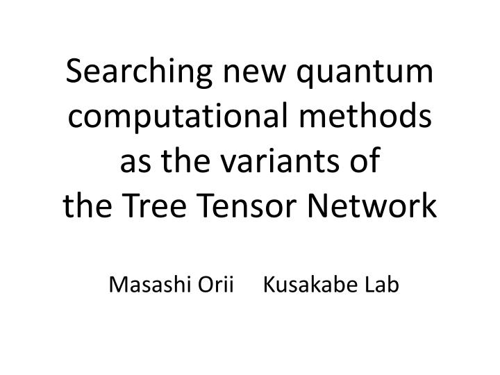 Searching new quantum computational methods as the variants of the tree tensor network
