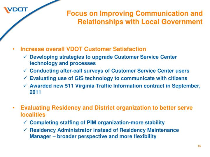 Focus on Improving Communication and Relationships with Local Government