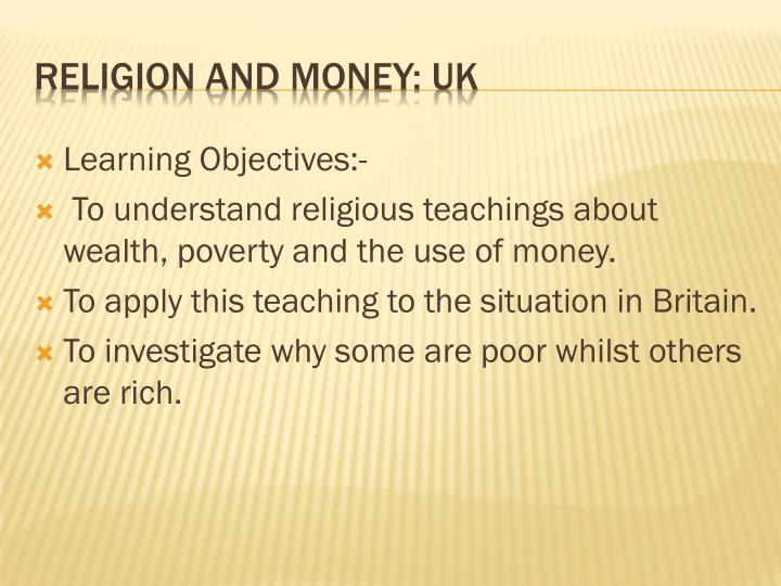 Religion and money uk