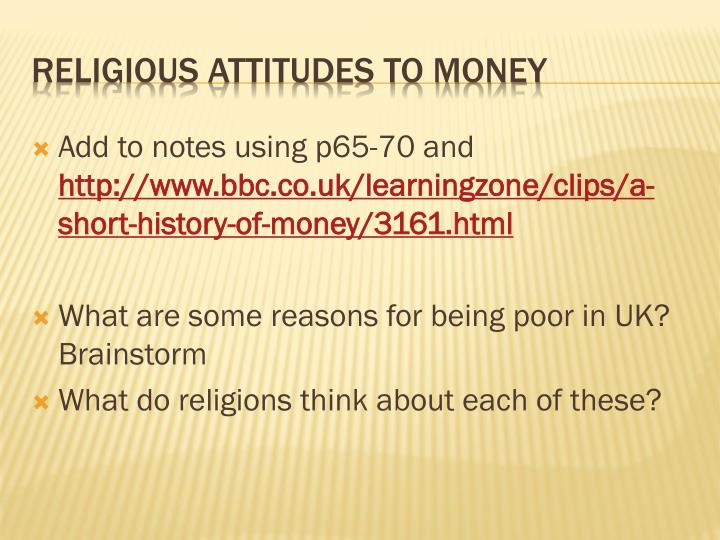 Religious attitudes to money
