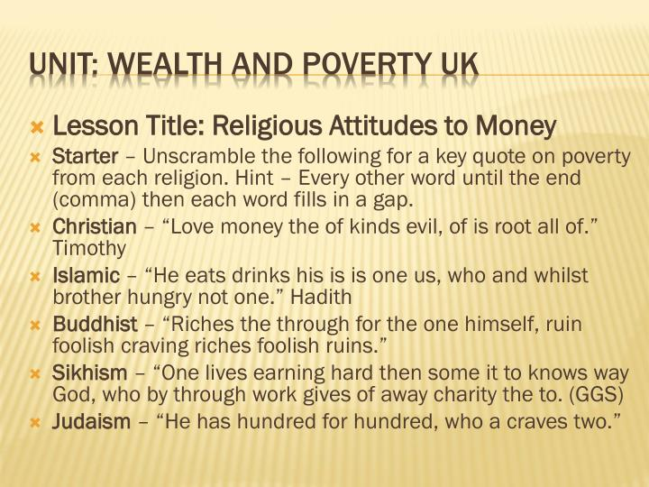Lesson Title: Religious Attitudes to Money