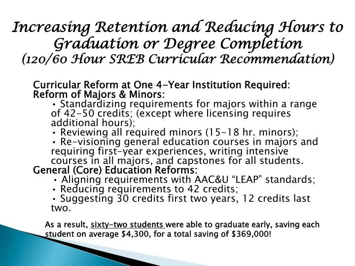 Increasing Retention and Reducing Hours to Graduation or Degree Completion