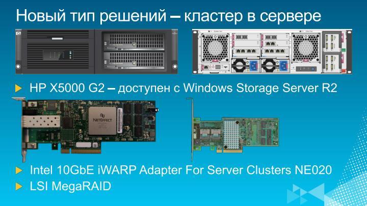 Новый тип решений – кластер в сервере