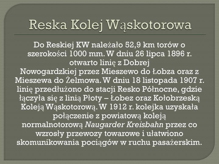 Reska Kolej Wąskotorowa