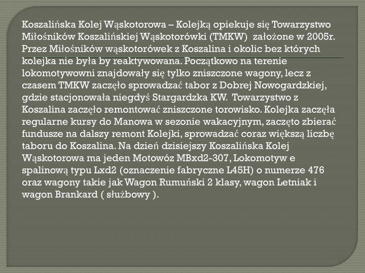 Koszalińska Kolej Wąskotorowa – Kolejką opiekuje się Towarzystwo Miłośników Koszalińskiej Wąskotorówki (TMKW)  założone w 2005r. Przez Miłośników wąskotorówek z Koszalina i okolic bez których kolejka nie była by reaktywowana. Początkowo na terenie lokomotywowni znajdowały się tylko zniszczone wagony, lecz z czasem TMKW zaczęło sprowadzać tabor z Dobrej Nowogardzkiej, gdzie stacjonowała niegdyś Stargardzka KW.