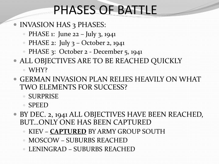PHASES OF BATTLE