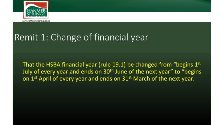 Remit 1: Change of financial