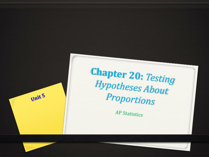 Chapter 20 testing hypotheses about proportions