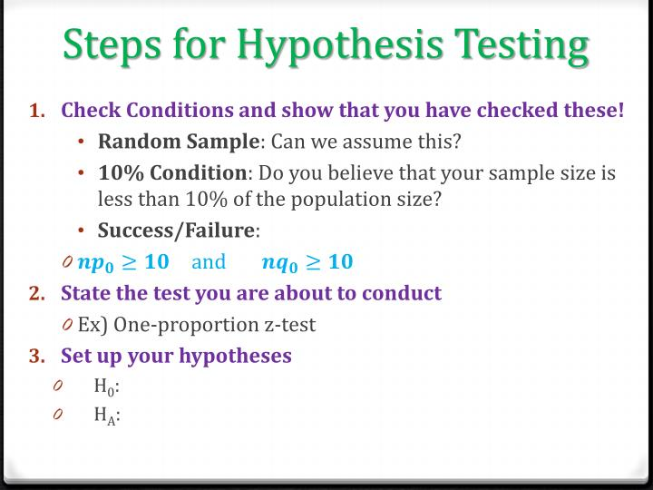 Steps for Hypothesis