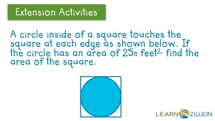 A circle inside of a square touches the square at each edge as shown below. If the circle has an area of 25