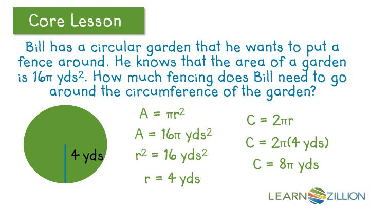 Bill has a circular garden that he wants to put a fence around. He knows that the area of a garden is 16