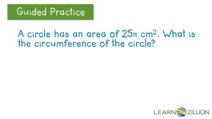 A circle has an area of 25