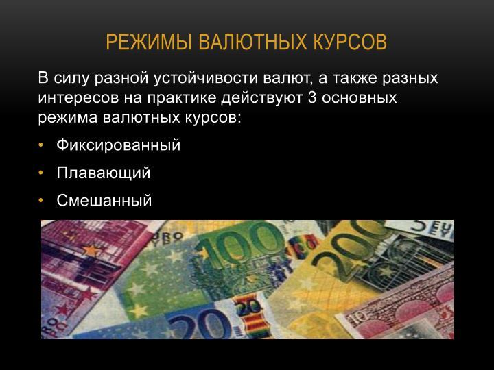 Режимы валютных курсов